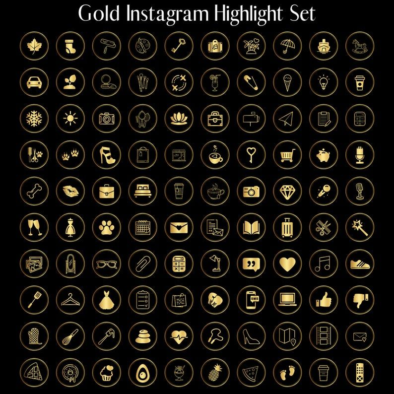 100 Gold Instagram Story Highlight Icons Instagram Stories