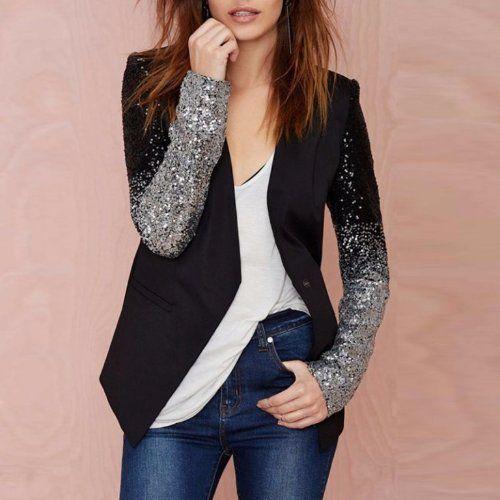 Marynarka Damska Zakiet Asymetryczna Cekiny M 38 6042233440 Oficjalne Archiwum Allegro Blazer Fashion Winter Fashion Coats Elegant Blazers