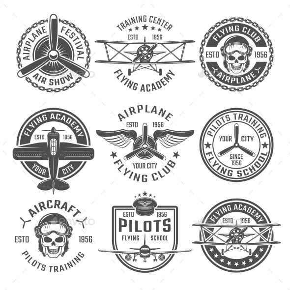 Airplane emblem or labels set with different shapes and