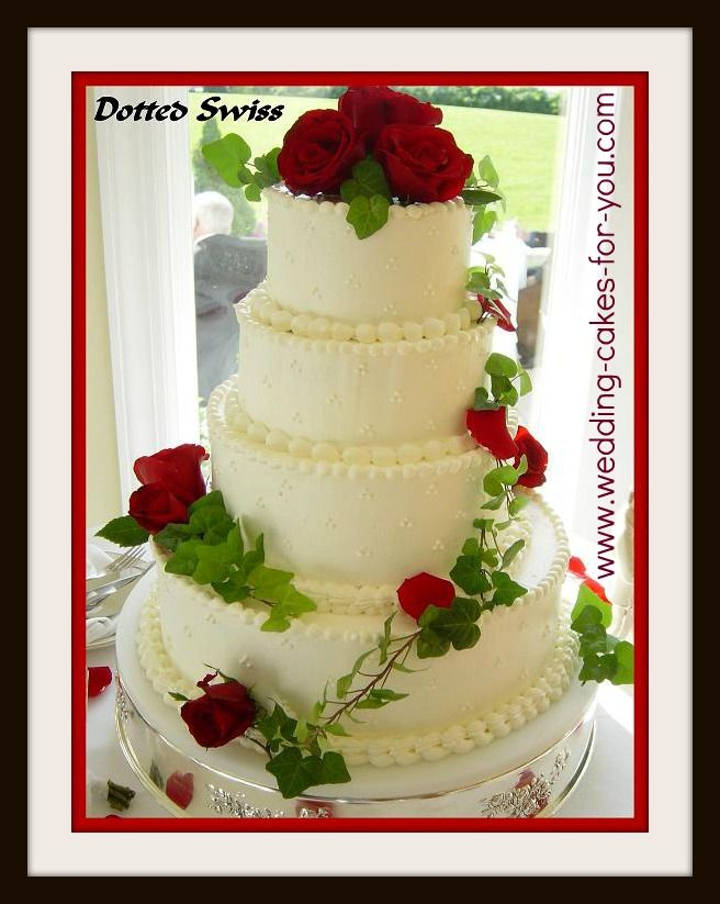 Dotted Swiss buttercream cake with red roses by Lorelie @Judith de ...