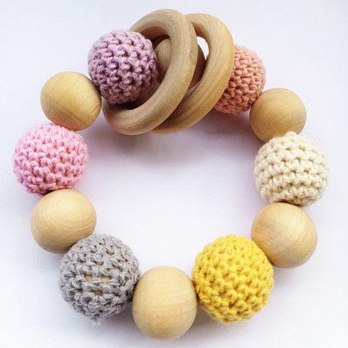 Holz kinderkrankheiten ring häkeln perlen rassel amigurumi