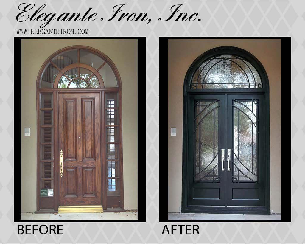 Single Door Replaced With Custom Wrought Iron Double Door