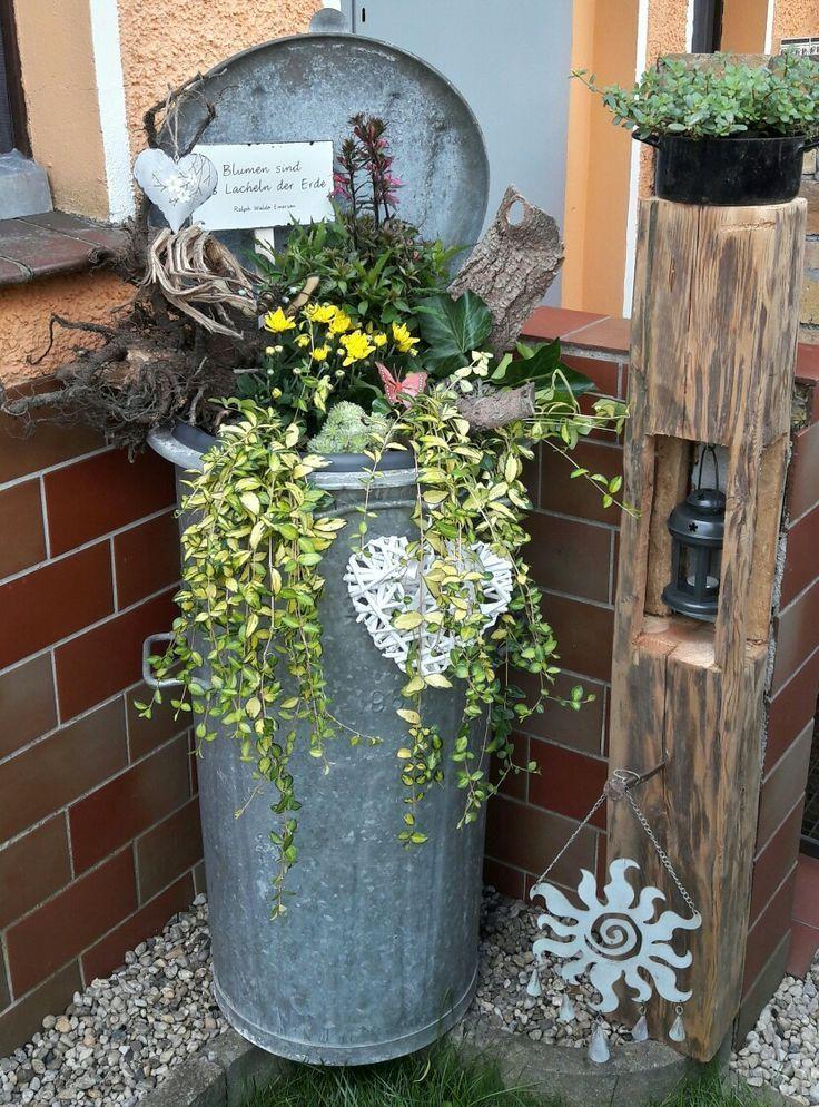Deko alte Mülltonne – Vorgarten ideen – My Blog
