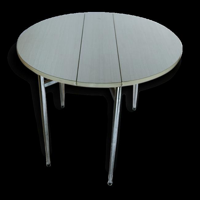 Table Ronde Pliante En Formica Formica Blanc Bon Etat Vintage