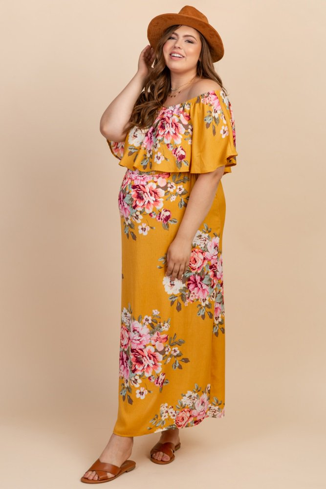 b1df8d6e2cbe3 Yellow Floral Off Shoulder Ruffle Plus Maternity Maxi in 2019 ...