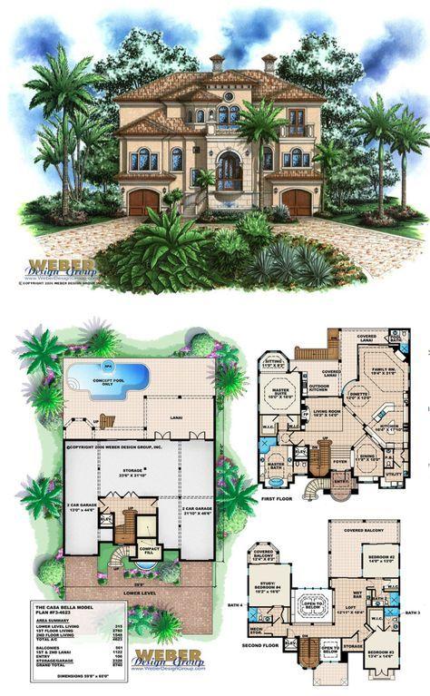 Beach House Plan Coastal Mediterranean Style Home Floor Plan – Coastal Style Home Floor Plans