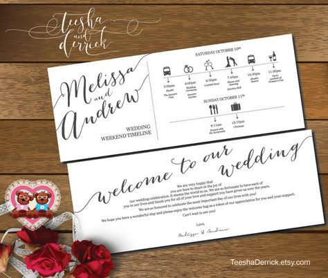 Printable Wedding Weekend Timeline T0100 Itineraries With Welcome Note For Bags