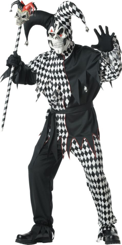 Adult Black and White Evil Jester Costume , Horror, Gothic