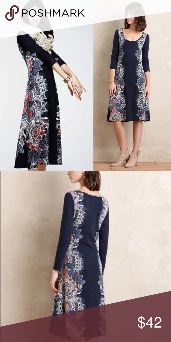 cac349c90123 [Anthropologie] Maeve Eira Midi Sweater Dress Maeve for Anthropologie navy  blue scoop neck sweater