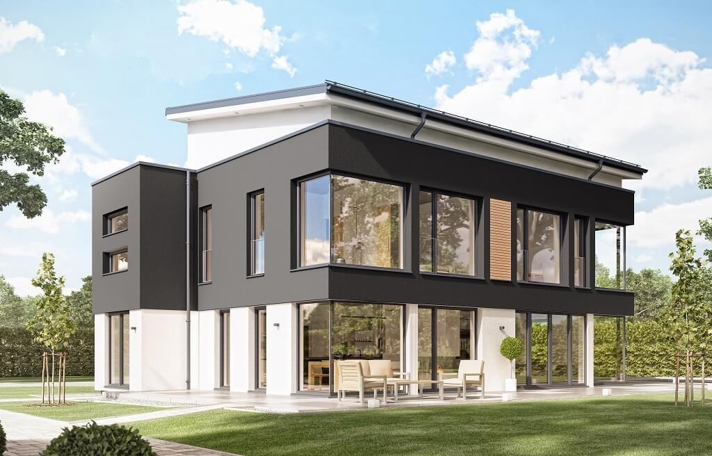 Designhaus mit pultdach concept m 188 wuppertal bien for Einfamilienhaus bauen ideen