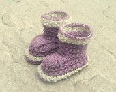 Knitting PATTERN BABY Booties Simple Seamless Lilac Lounging Boots Instant Download