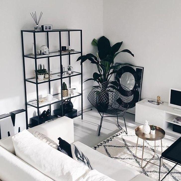 47 gemütliche schwarz-weiß Wohnzimmer-Design-Ideen -  47 Gemütliche Wohnideen in Schwarzweiß Wohnen