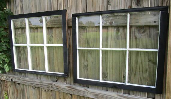 Vintage Antique Pair 32x27 6 Pane Wood Window Sash Wedding Picture Frame Black White Grid Reversible 117 Wedding Picture Frames Display Family Photos Exterior Colors