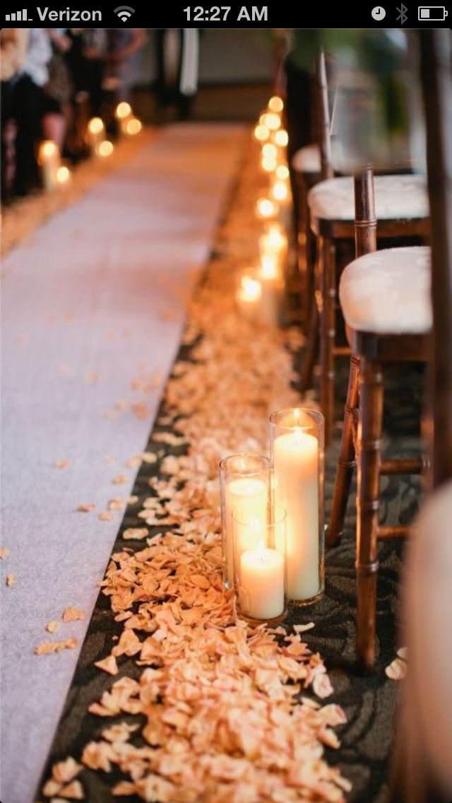 white petals and silver candles?