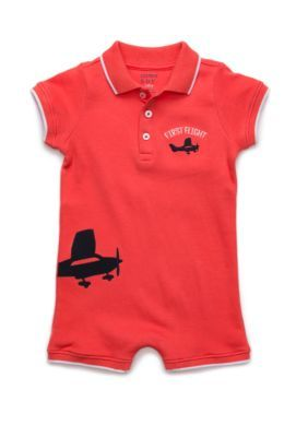 Photo of Crown & Ivy™ Baby Boys Knit Polo Romper
