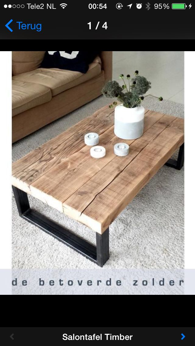 Mooi wood metal pinterest muebles mesas y madera for Muebles industriales baratos