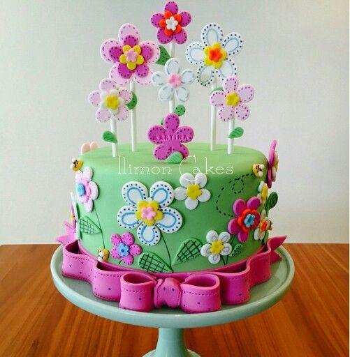Pastel de cumplea os de flores para ni as my blog - Bizcochos de cumpleanos para ninos ...