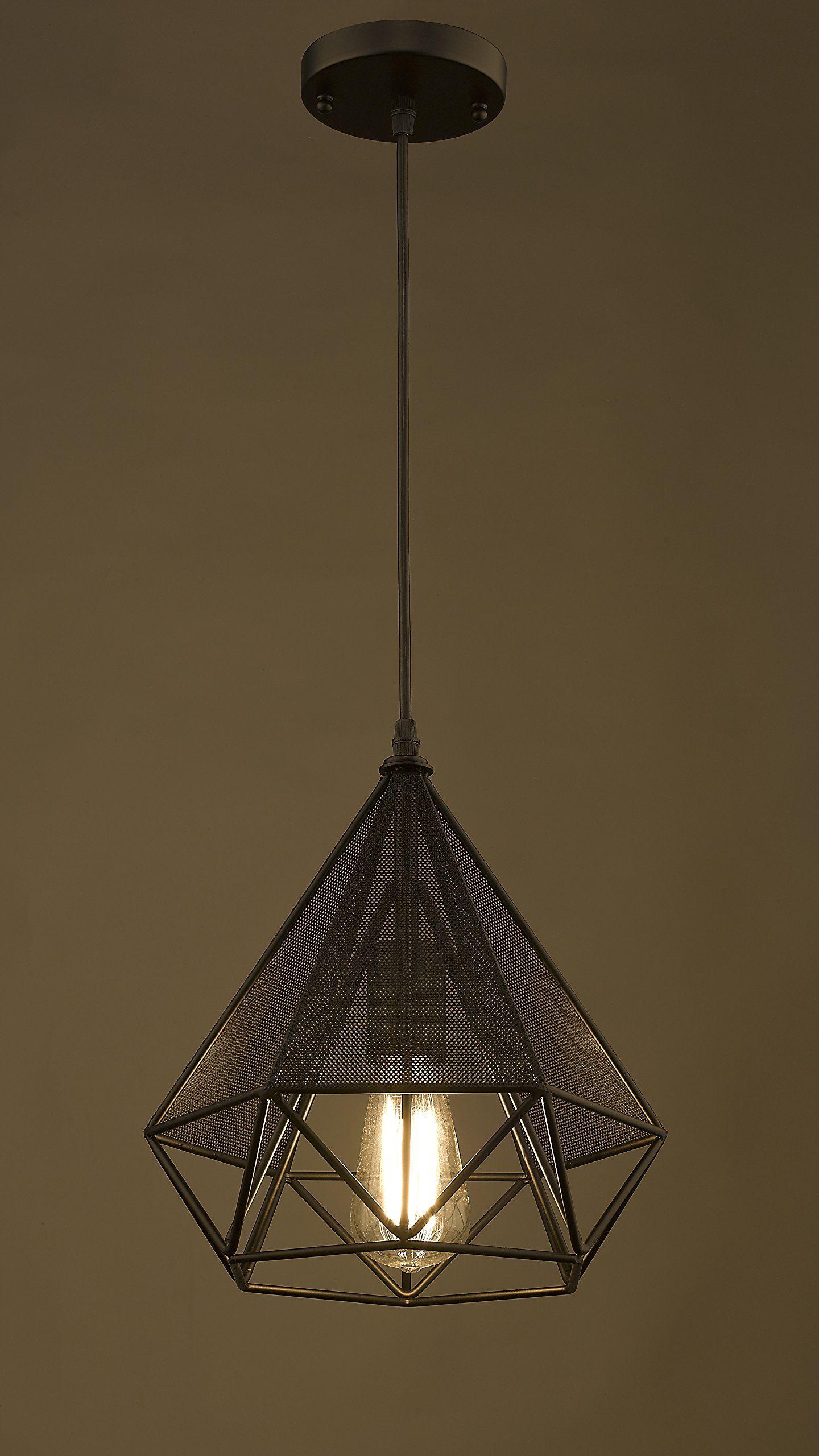 YOBO Lighting Polygon Art Deco Vintage Wire Pendant Light - - Amazon ...