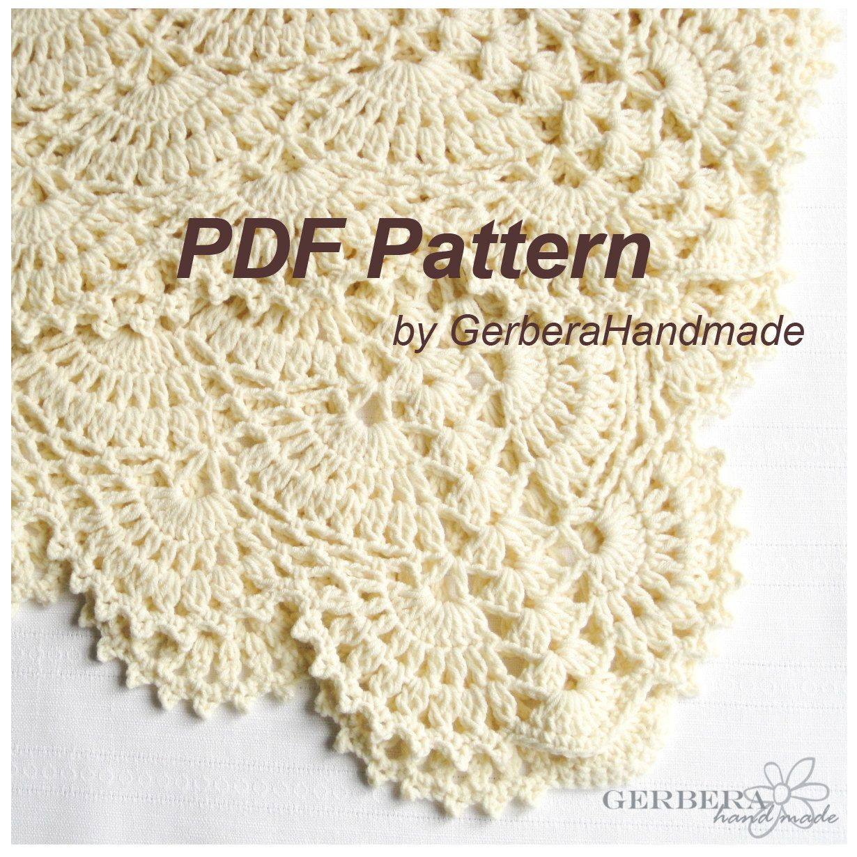 Crochet Pattern Baby Blanket, Tutorial Crochet PDF Creame Baby ...