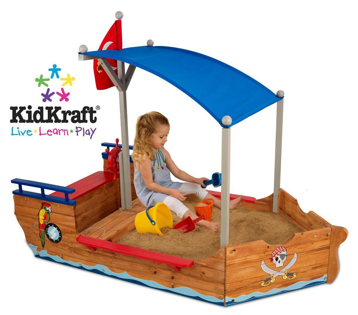 Pirate Sand Boat KidKraft 00128 Kids sandbox, Wooden