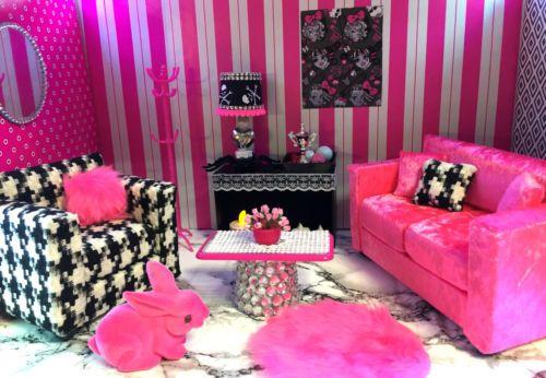 pinkrosemh Bett für Puppenstube Barbie Fashion Royalty Monster - barbie wohnzimmer möbel