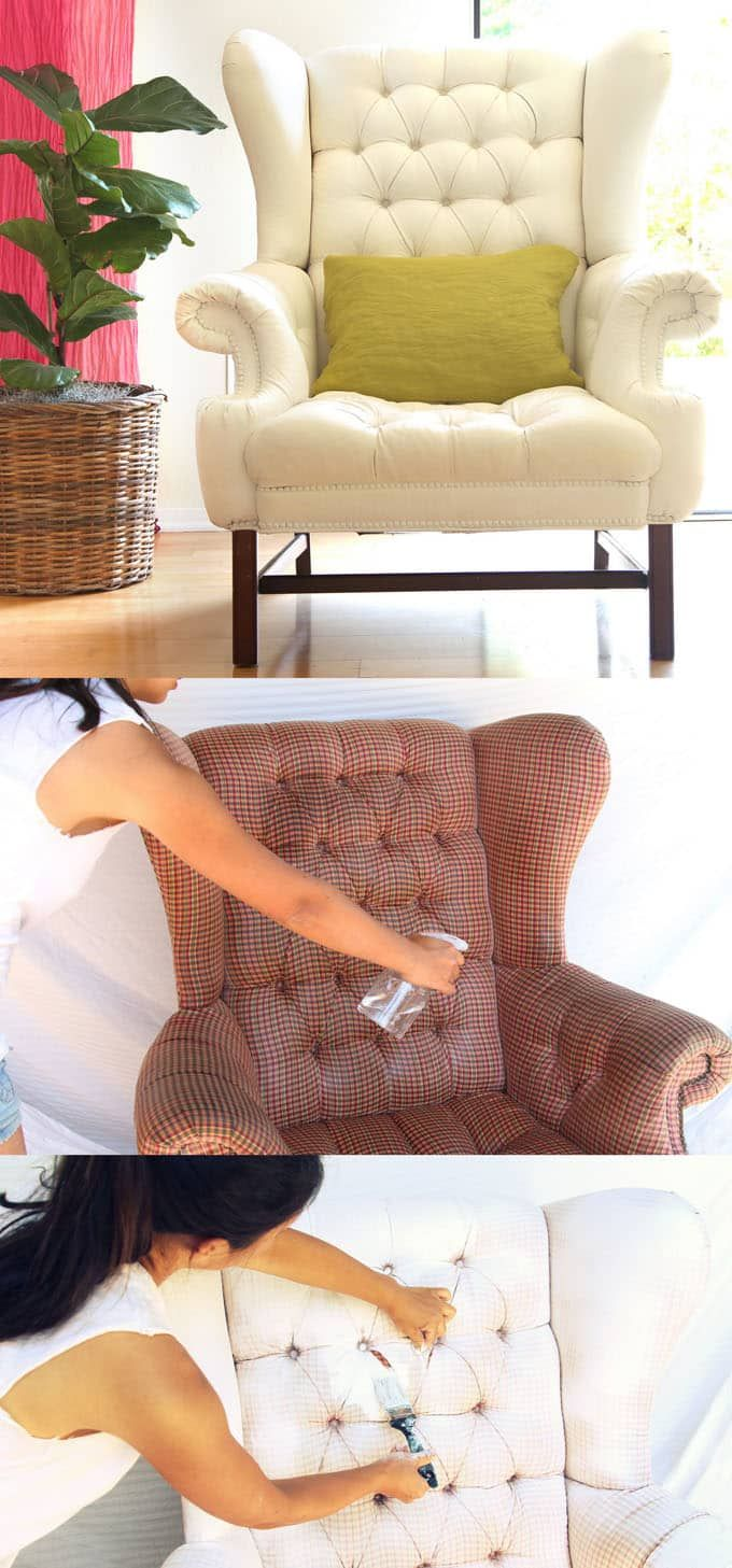 How To Paint Upholstery: Old Fabric Chair Gets Beautiful