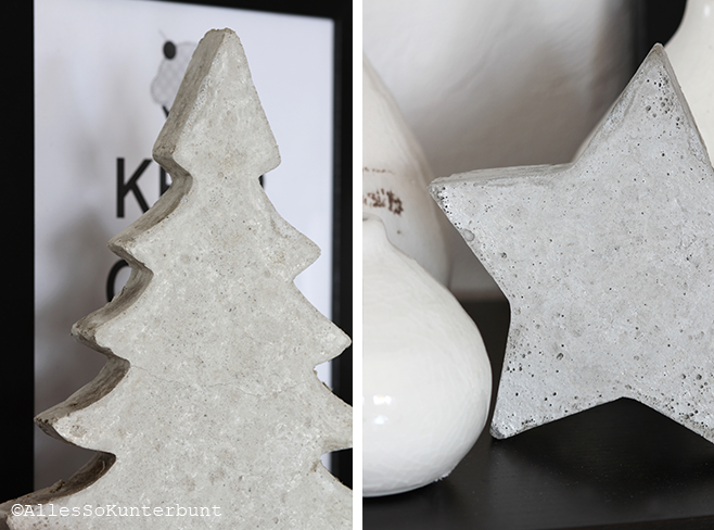 tannenbaum und stern aus beton selbst gemacht concrete stars and christmas tree diy. Black Bedroom Furniture Sets. Home Design Ideas