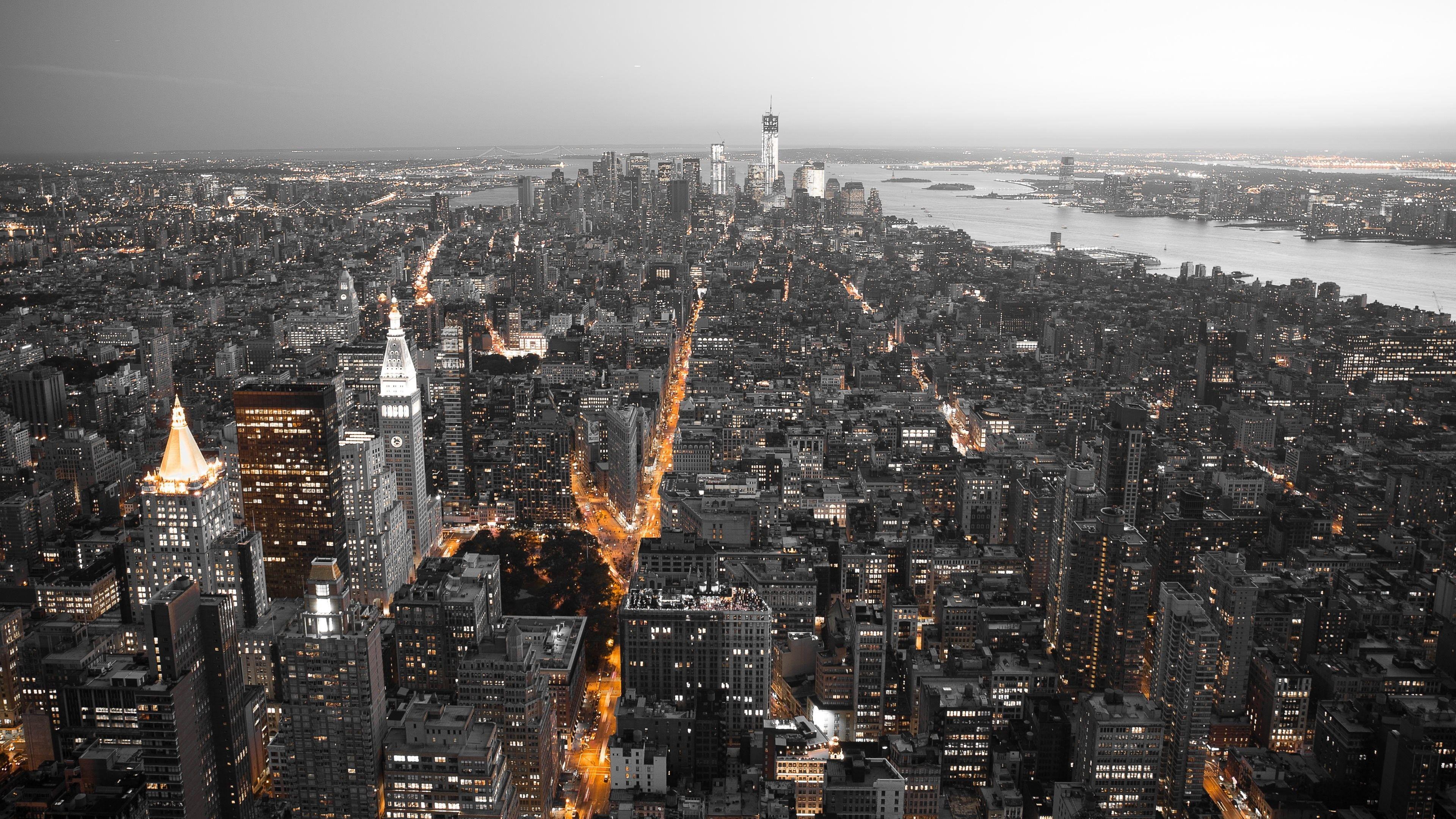 Black Cityscape Orange New York City White 4k Wallpaper Hdwallpaper Desktop New York City Buildings American Cities Panorama City