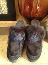 Coach Mule Shoes Heels Fur Suede Wedge 7.5B New Kalea
