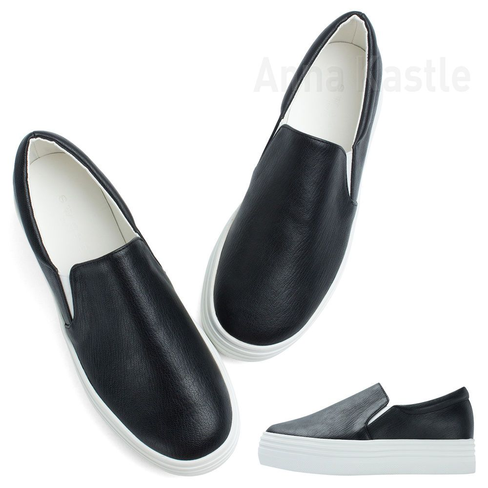 9982c8a716 AnnaKastle Womens Solid Faux Leather Platform Slip-On Sneaker Black  #fashion #clothing #shoes #accessories #womensshoes #heels (ebay link)