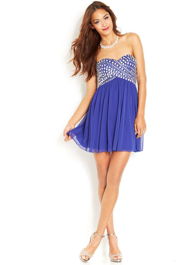 B Darlin Juniors\' Rhinestone Babydoll Dress | Clothing Store | Pinterest