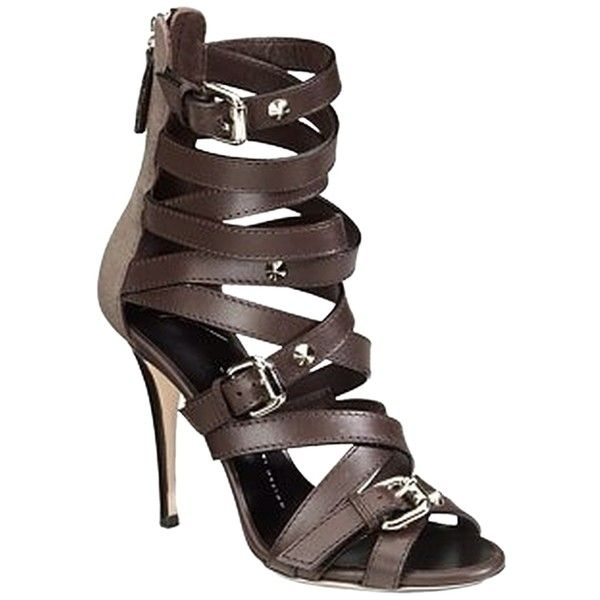 aa05a89650d Pre-owned Giuseppe Zanotti Strappy Buckle Dark Brown Sandals ( 146) ❤ liked  on