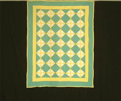 Q8929 Amish 9 Patch on Point Crib Quilt   Green Garden Fresh Quilt ... : shaker quilt patterns - Adamdwight.com
