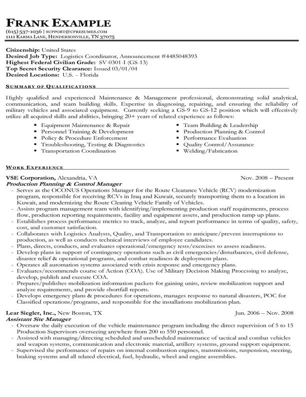 Example Of A Federal Government Resume  Sample Federal Resume