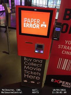 PAPER ERROR at HOYTS Cinema Ticketing Machine   .HOYTS Cinema Entertainment Melbourne Melbourne-Central-Mall Pend-Management-Action Ticket-Dispenser