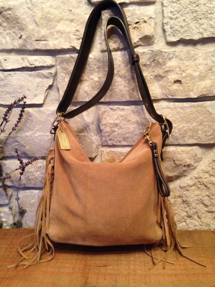 Coach Limited Edition Beige Fringe Split Suede & Leather Trim Vintage Bag 9330 #Coach #MessengerCrossBody