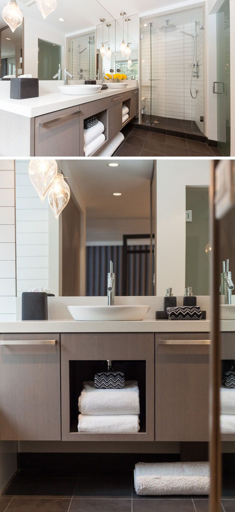 15 Examples Of Bathroom Vanities That Have Open Shelving // Under ...