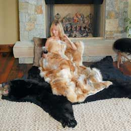 Authentic western black bear rug to give your western decor a finished look.