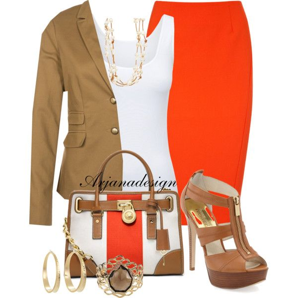work chic - orange pencil skirt, white tank, crop camel jacket, w/ nude  sandals
