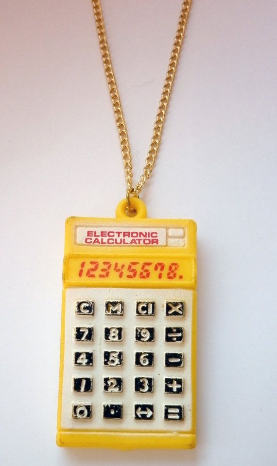 Yellow Calculator #Necklace, Gold-Plated Chain