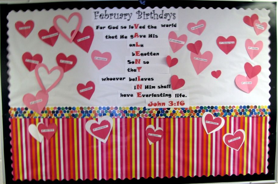 February Birthday Bulletin board for church. Birthday