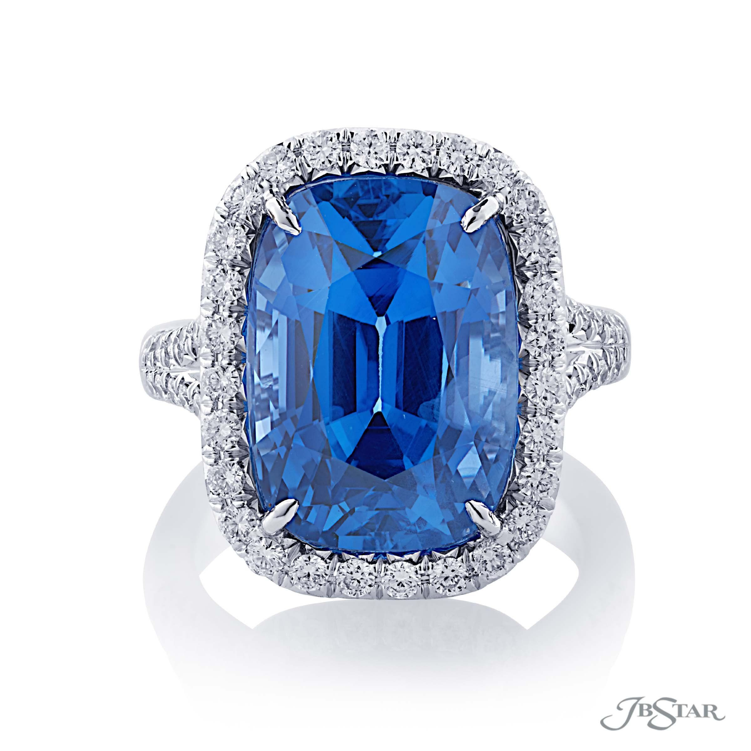 1b465770145 Spectacular sapphire and diamond ring featuring a magnificent 16.69 ct. GIA  certified Sri Lankan cushion