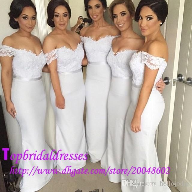 f0a39396d63f custom made off the shoulder sexy maid of honor dresses lace appliques mermaid  floor long bridesmaid dresses white