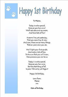 Personalised On On Your First 1st Birthday Boy Girl Keepsake Gift Card Poem First Birthday Quotes Birthday Boy Quotes Birthday Verses For Cards