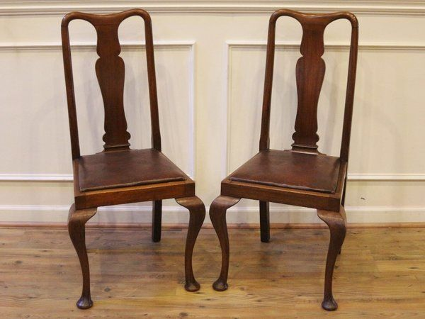 Pair Antique English Mahogany Queen Anne Dining Side Chairs C.1920