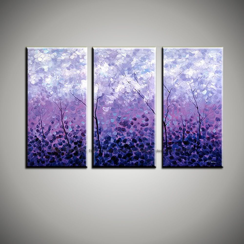 3 Piece Purple Cherry Blossom Muti Panel Abstract Modern Wall Art Knife Paint Oil Painting Canvas