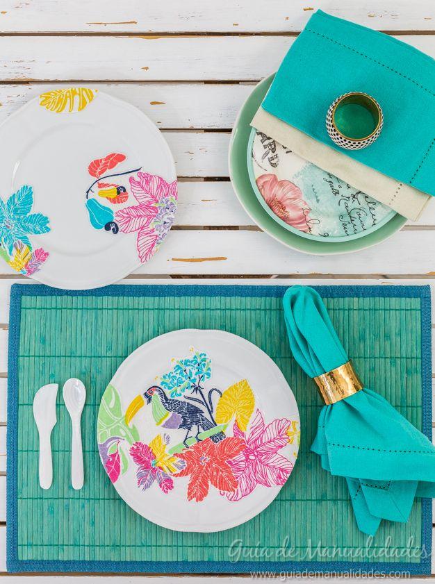Decoupage con tela para decorar platos de cer mica - Manualidades con tela ...