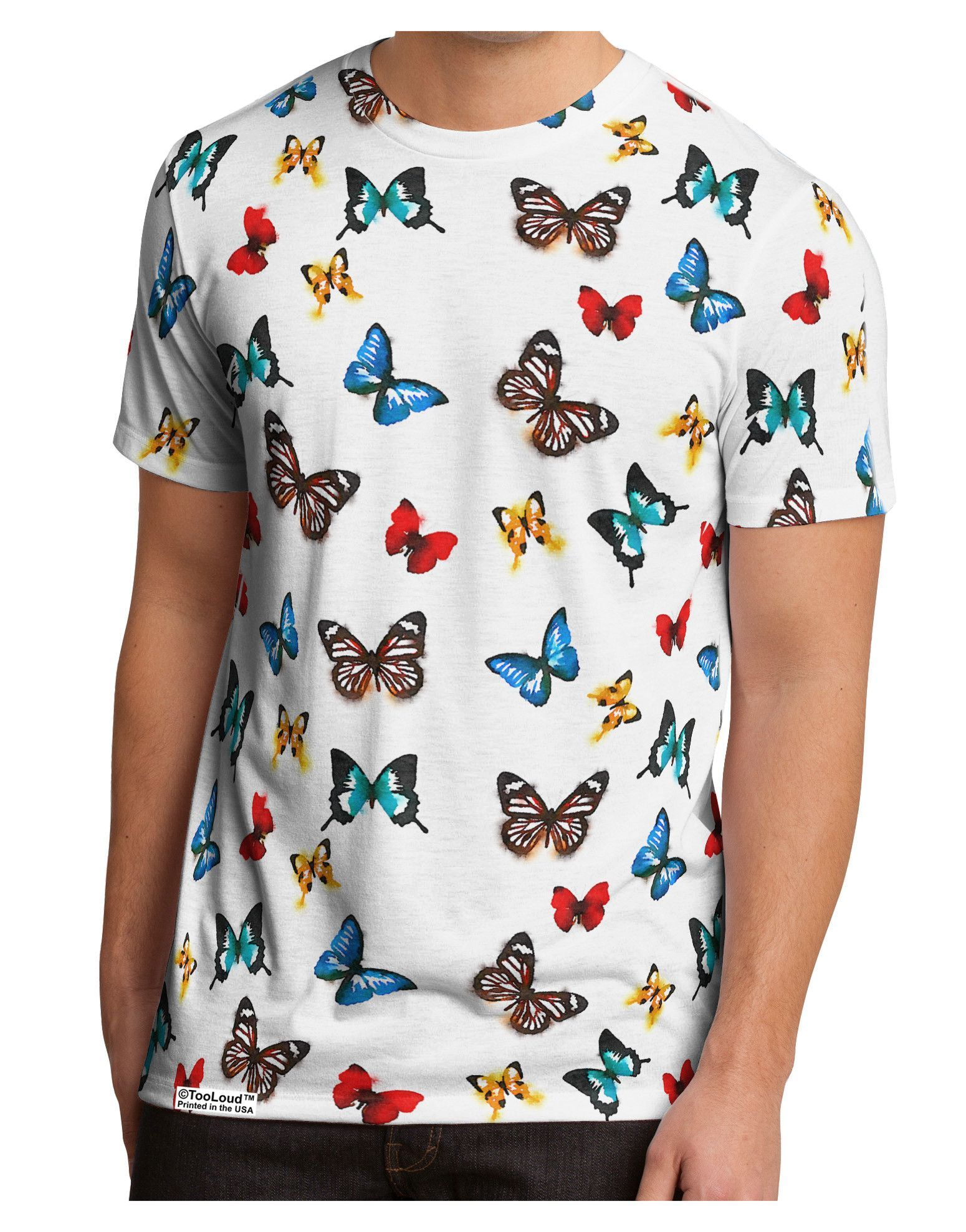 TooLoud Watercolor Butterfly Black Muscle Shirt