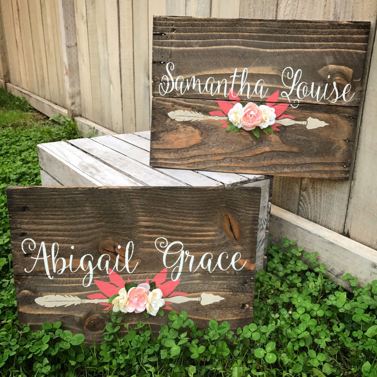 Transitional Nursery With Rustic Wood Wall: Rustic Nursery Name Arrow And Flowers Personalized