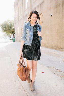 95195819d51 Black dress, jean jacket, short boots. | Dresses and Skirts ...
